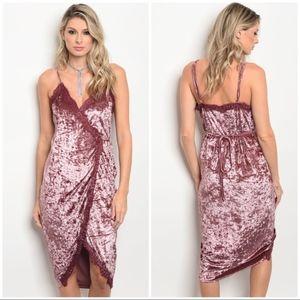 Dress Midi Pink Crushed Velvet Lace Party Wonen's